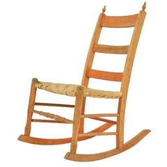 Antique Rocking Chair, Ladder Back Chair, Pine, 19th Century America 1880, Bcon1