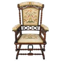 Antique Rocking Chair, Walnut, Barley Twist, Eastlake, American 1880, B2537