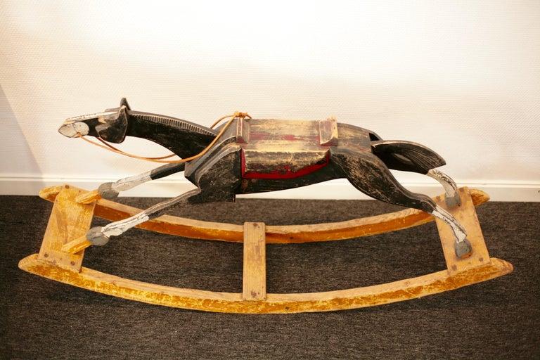 Folk Art Antique Rocking Horse, circa 1900 For Sale