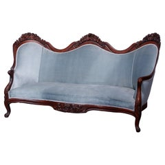 Antique Rococo Revival Belter Rosalie Laminated Rosewood Settee Sofa, c1860