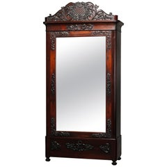 Antique Rococo Revival Carved Rosewood Mirrored Armoire, circa 1860
