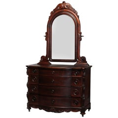Antique Rococo Revival Carved Rosewood Mirrored Dresser, circa 1860