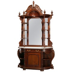 Antique Rococo Revival Rosewood Marble Top & Mirrored Étagère Sideboard, c 1860