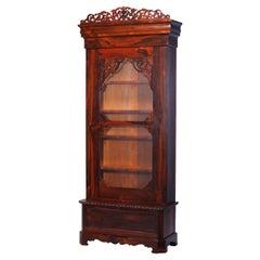 Antique Rococo Revival Rosewood Single Door Bookcase Cabinet, Circa 1880
