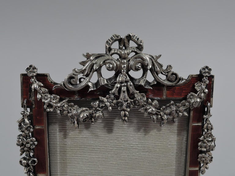 Antique Rococo Revival Silver Picture Frame with Dramatic Red Enamel In Good Condition For Sale In New York, NY