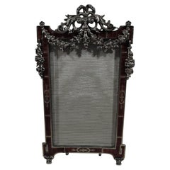 Antique Rococo Revival Silver Picture Frame with Dramatic Red Enamel