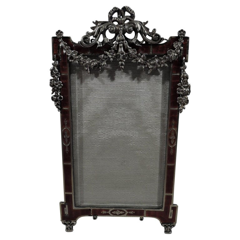 Antique Rococo Revival Silver Picture Frame with Dramatic Red Enamel For Sale