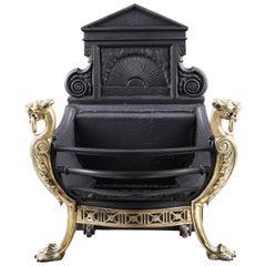 Antique Rococo Style Iron and Brass Fire Grate, circa 1870