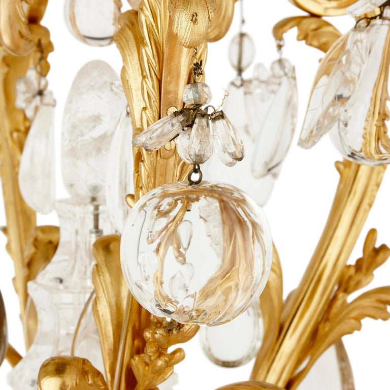 Antique Rococo style ormolu and cut glass twelve-light chandelier