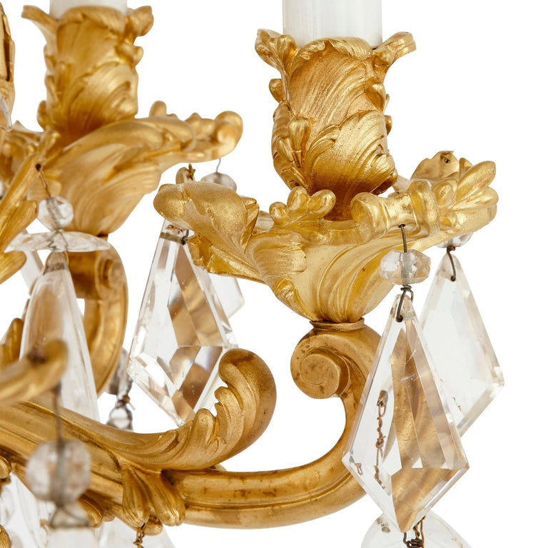 19th Century Antique Rococo Style Ormolu and Cut Glass Twelve-Light Chandelier For Sale