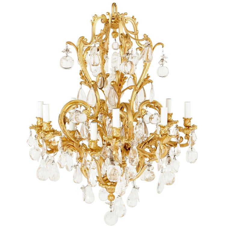 Antique Rococo Style Ormolu and Cut Glass Twelve-Light Chandelier For Sale