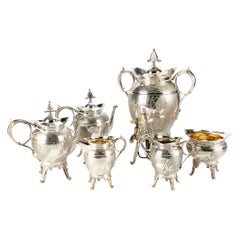 Antique Rogers Aesthetic Period Six Piece Silverplate Tea and Coffee Service