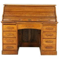Antique Roll Top Desk, Antique Desk, Oak, Double Pedestal, Scotland, 1910