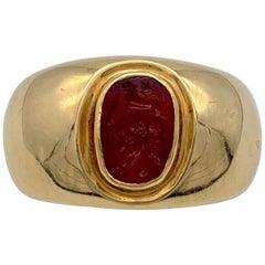 Antique Roman Republic Agate Intaglio Gents Ring Victorian 15 Karat Gold Mount