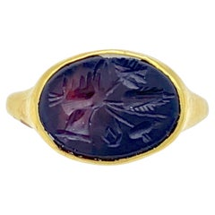 Antique Roman Agate Intaglio Ring Gold Symbol of Fortune and Good Luck