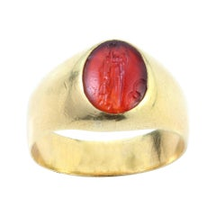 Antique Roman Carnelian Intaglio with 15kt Yellow Gold Victorian Ring Shank