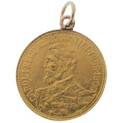Antique Romanian 24 Karat Yellow Gold Carol I Coin Charm