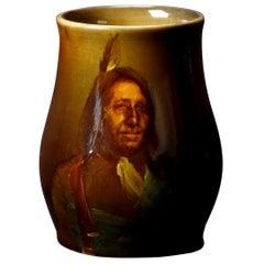 Antique Rookwood Hand Painted Art Pottery American Indian Portrait Mug