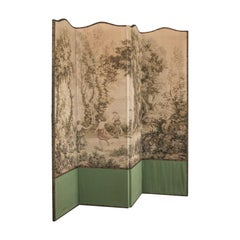 Antique Room Divider, French, Needlepoint, Screen, Prop, Tapestry, Jean Corot