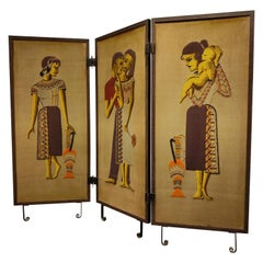 Antique Room Divider or Folding Screen, 1920s