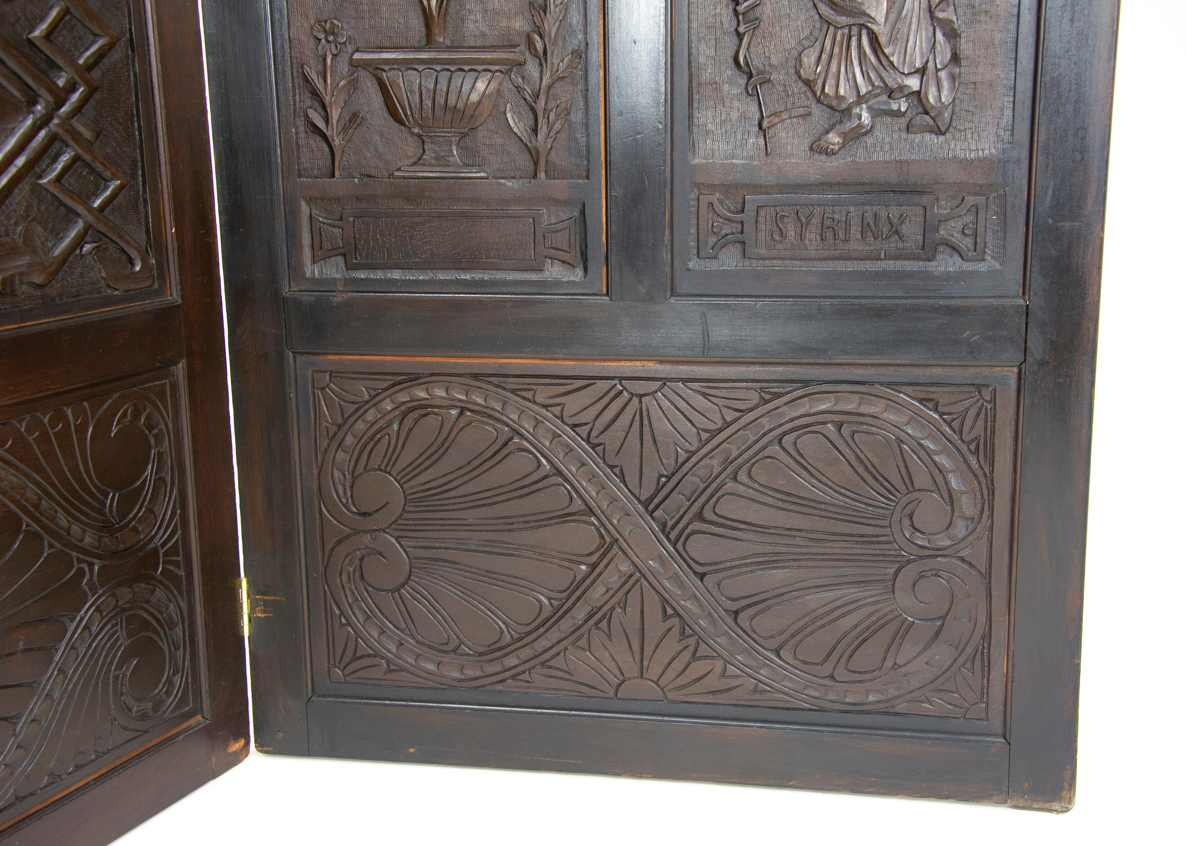 Antique Room Divider Privacy Screen Carved Partition