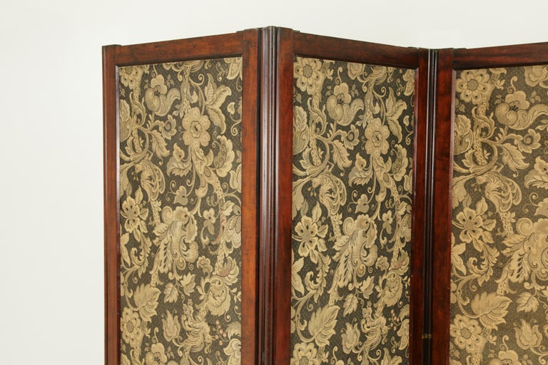 Antique room divider, privacy screen, vintage partition, folding screen, Scotland 1880, antique furniture, B1412  Scotland, 1880 Solid walnut All original finish Each section to the front has tapestry panels in a botanical theme (fairly good