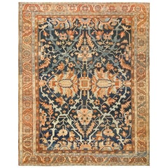 Antique Room Size Blue Persian Heriz Serapi Rug. Size: 9 ft 4 in x 11 ft 5 in