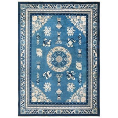Antique Room Size Blue and Ivory Chinese Rug. Size: 8 ft x 11 ft