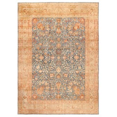 Antique Room Size Light Blue Khorassan Persian Rug. Size: 10 ft x 14 ft 6 in