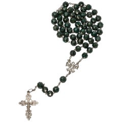 Antique Rosary Bloodstone and Silver European