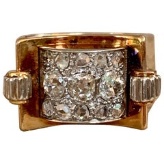 Antique Rose and Mine Cut Diamond 14 Karat Yellow Gold Ring - Size 6
