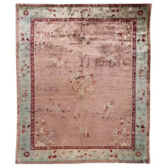 Antique Rose Chinese Art Deco Wool Rug