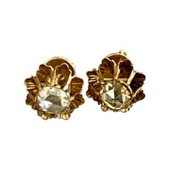 Antique Rose Cut Diamond 14 Karat Yellow Gold Screw Back Earrings