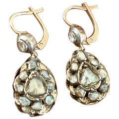 Antique Rose Cut Diamond 9 Karat Gold and Silver Drop French Hook Earrings