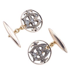 Antique Rose Cut Diamond and Gold Cufflinks