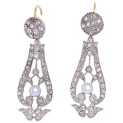 Antique Rose Cut Diamond and Pearl Pendant Earrings
