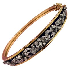 Antique Rose Cut Diamond Bangle Bracelet Blue Enamel Belle Epoque 18 Karat Gold
