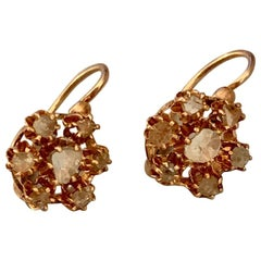 Antique Rose Cut Diamond Cluster 9 Karat Yellow Gold Front Closure Earrings