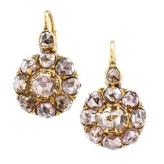 Antique Rose Cut Diamond Gold Drop Earrings
