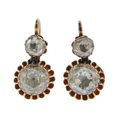Antique Rose Cut Diamond Gold Earrings