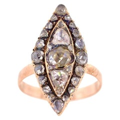 Antique Rose Cut Diamond Gold Ring