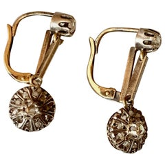 Antique Rose Cut Diamond Lever Back 14 Karat Yellow Gold and Sterling Earrings