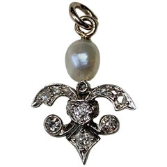 Antique Rose Cut Diamond Pearl Pendant Necklace Art Deco 14 Karat White Gold