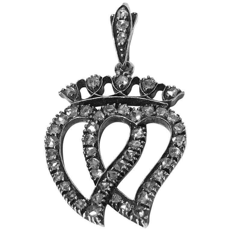 Antique Rose Cut Diamond Pendant, circa 1850 For Sale