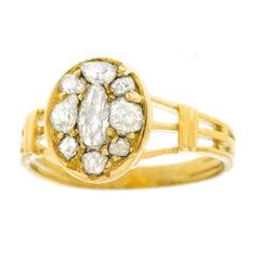 Antique Rose Cut Diamond Set Gold Ring