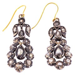 Antique Rose Cut Diamond Silver and 15 Carat Gold Drop Earrings