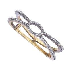 Antique Rose-Cut Diamond Silver Gold Scarf Ring