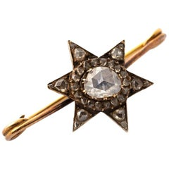 Antique Rose Cut Diamond Star Brooch