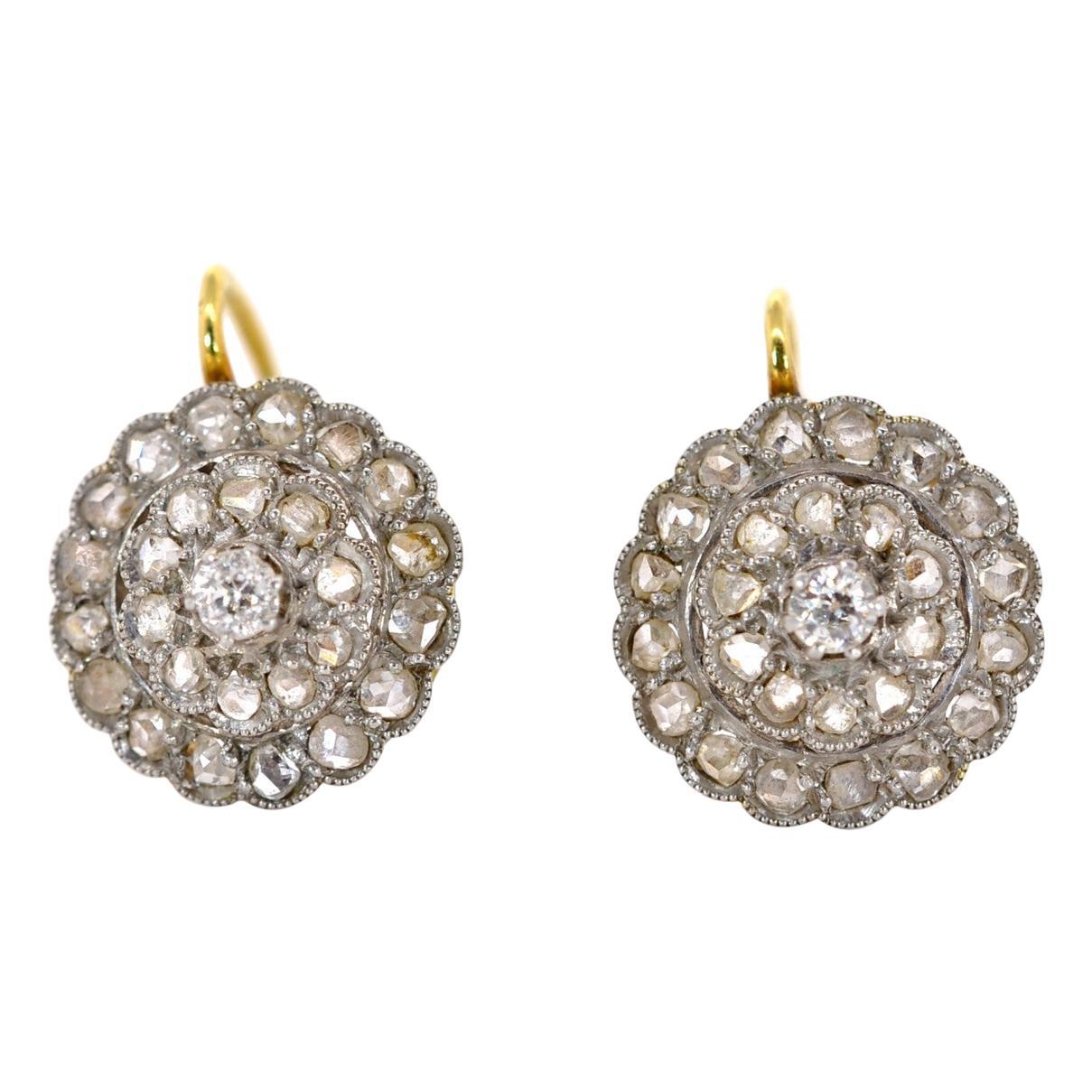 Antique Rose Cut Diamonds Cluster Earrings
