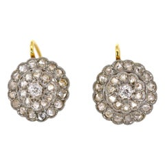 Antique Rose Cut Diamonds Cluster Earrings